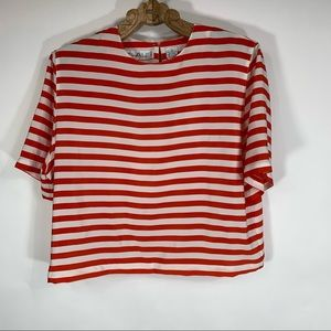 Vintage Red White Striped Blouse Short Sleeve M